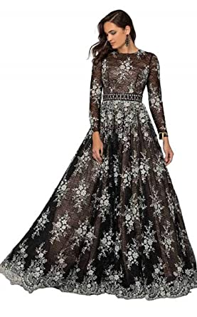 56aad064ac6 Terani Couture - 1913E9251 Embellished Lace Long Sleeve A-line Gown at Amazon  Women s Clothing store