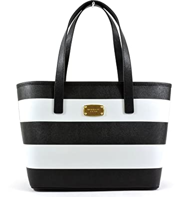 Michael Kors Jet Set Travel Stripe Saffiano Leather Small Tote, Black White