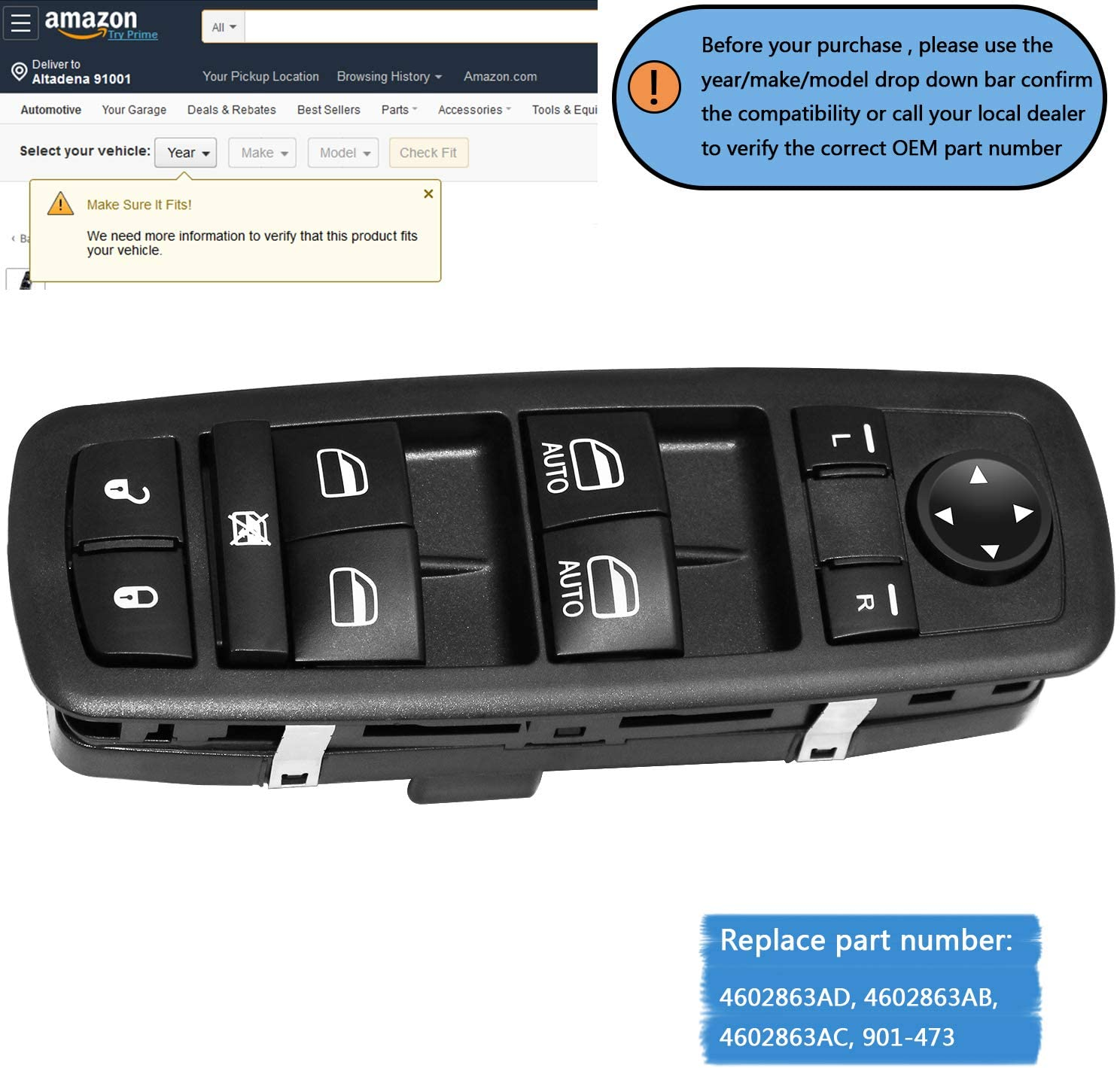 TTIHOT Ram Window Switch Front Driver Side Power Master Window Switch Compatible for 2009-2012 Dodge Ram 1500 2500 3500 Replace # 4602863AD 4602863AB 4602863AC Driver Side Master Power Window Switch