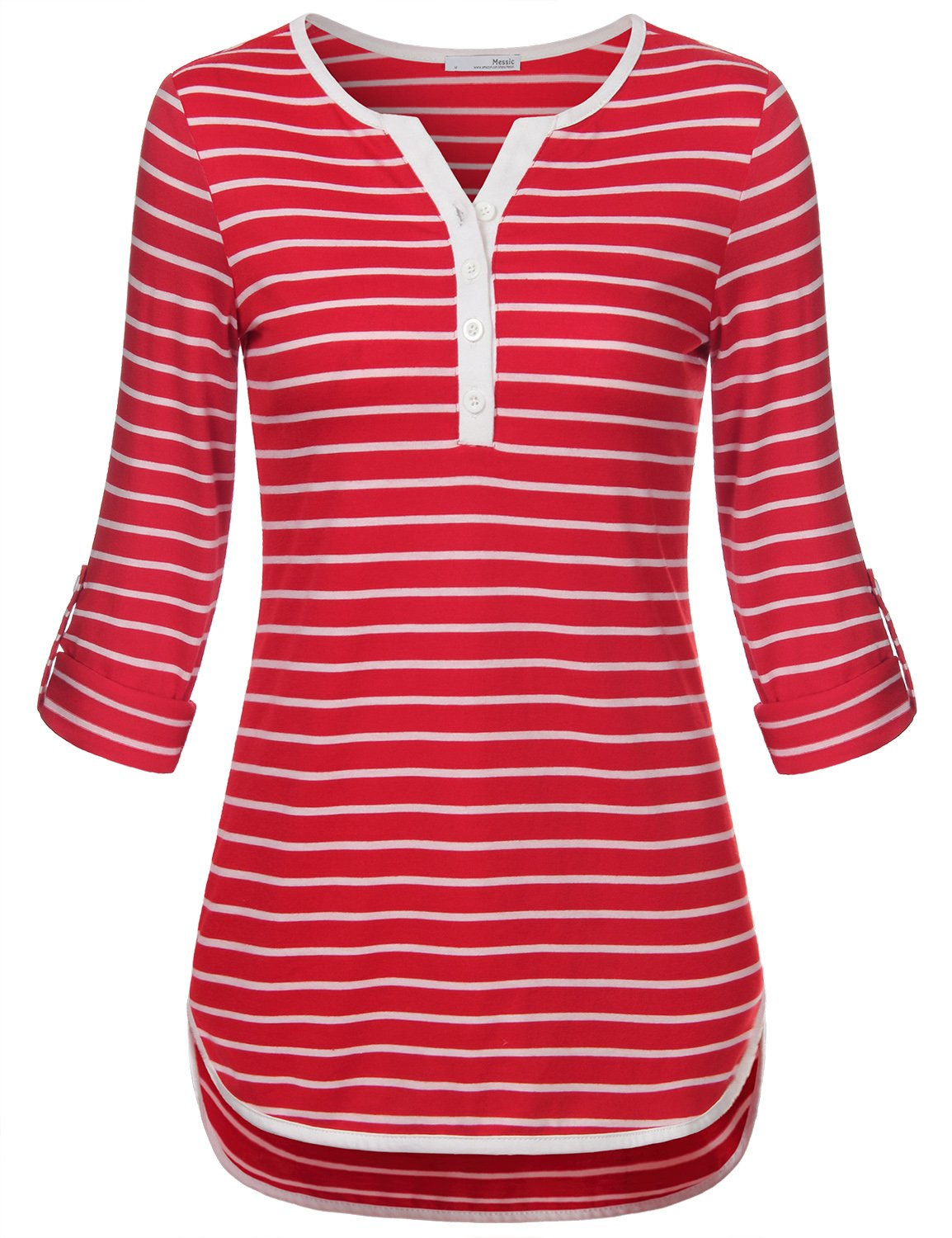 Messic 3/4 Sleeve Shirts for Women, Women's Mid-Long Style Roll up Sleeve V-Neck Casual Striped Quarter Button Shirt (Large,Red)