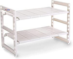 YOUSEFUL Expandable Multifunctional Organizer 2 Tier Rack White Plastic Shelf with Steel Pipes Under the Sink or Over the Counter Ideal for Bathroom, Kitchen, Laundry, Shoes, Gardening Tools, Spices. Pantry Space Saver with removable trays. Seasoning Rack Cabinet Storage. Adjustable tray height and length from 15''- 26''. Large capacity holds over 11 pounds per level. Stable, sturdy and durable structure