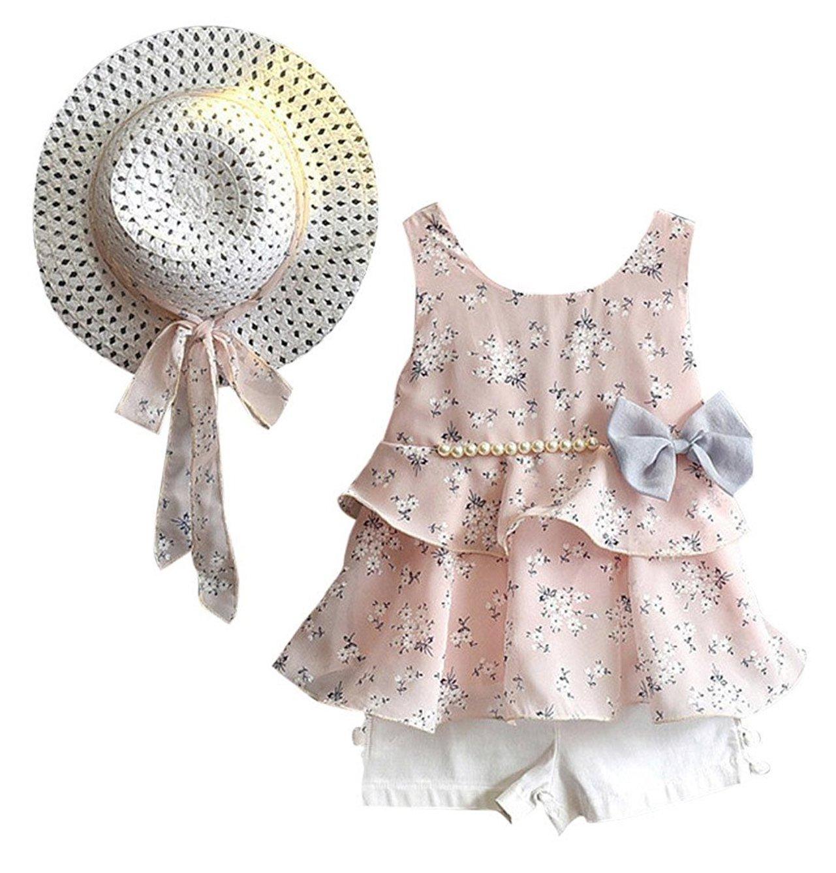 LOliSWan 3PCS Little Girls Summer Outfits Clothes Floral Vest T-Shirt Tops +Shorts Pants+Sun Hat Set (Pink, 4-5 Yesrs)