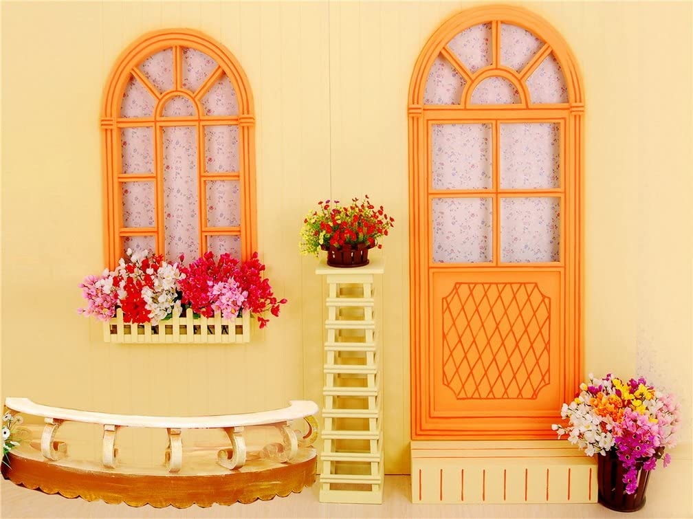 Flowers House Orange Door Window Photography Background Computer ...