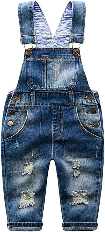 ZIYOYOR Little Boys Girls Ripped Denim Overall Bib Pants