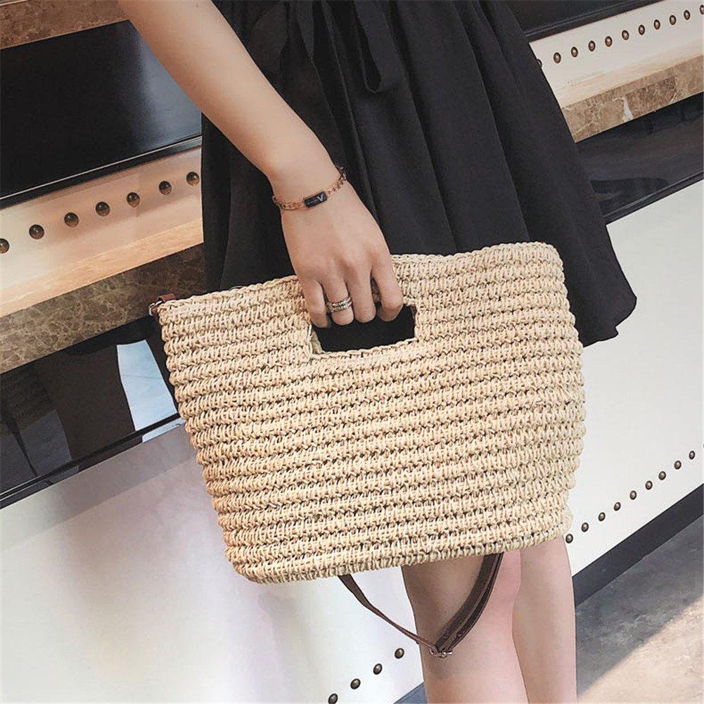 LianLe Handmade Straw Woven Bag,Summer Beach Bag Cross-body Bag Handbag Single-shoulder Bag For Girl Women
