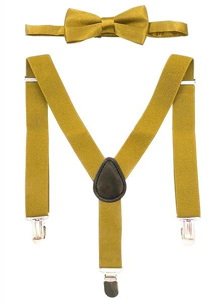 6ee31c7f5 Aieoe Tirantes Infantil de Pantalones 65 cm con 3 clips Y Forma (Pack de 2)  y Pajarita Ajuestable para Niños - Amarillo  Amazon.es  Ropa y accesorios