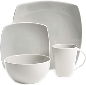 Gibson Elite Soho Lounge Bright Shell 16 pc Dinnerware Set Light Grey