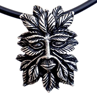 OhDeal4U Greenman Pagan Celtic Green Man Silver Pewter