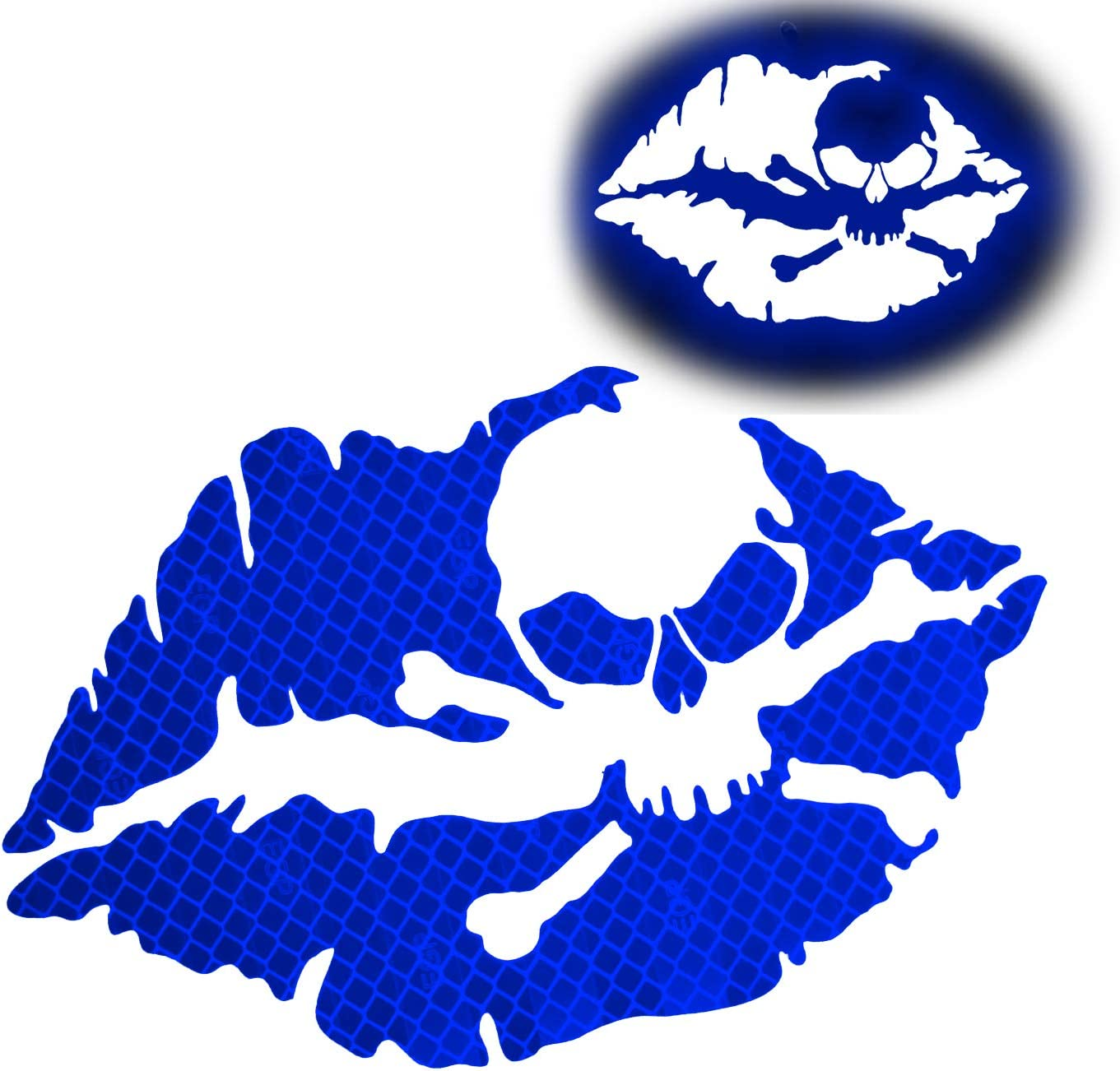 KE-KE 2PCS Kiss of Death Skull Crossbones Lips Reflective Sticker Decal Waterproof for Car Motorcycle Helmets Wind Screens Laptops (Blue, 3in Wide)