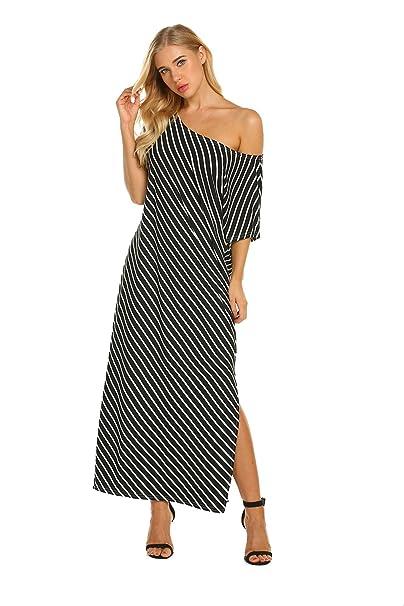 Sweetnight Women\'s Summer One Shoulder Casual Split Striped Maxi Dress Plus  Size