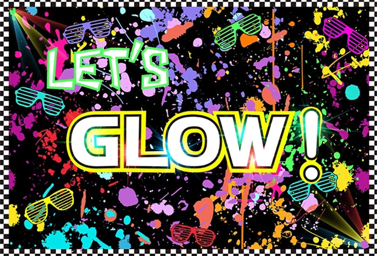 YEELE Lets Glow Party Photography Backdrop 10x8ft Kids Birthday Carnival Background Kids Acting Show Banner Kids Baby Artistic Portrait Photo Booth Dessert Table Photo Shoot Studio Props Wallpaper