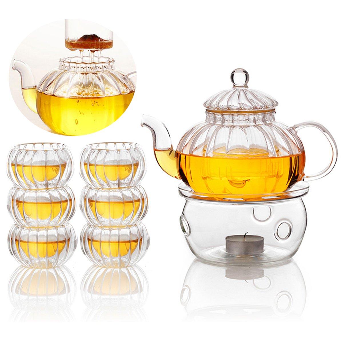 LYEJM 600ml 6 Cups Tealight Warmer Clear Pumpkin Tea Glass Pot Set Infuser Coffee Pot LYEJM by LYEJM (Image #2)