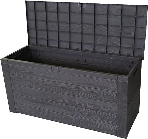 Auflagenbox In Holzoptik Gartenbox Anthrazit 300l 120x46xh58cm Gartentruhe Kissenbox Fur Polsterauflagen Amazon De Baumarkt
