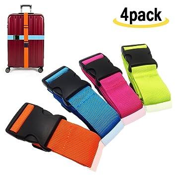 Koffergurt Gep/äckband Verstellbare Koffergurte mit Schnalle Schlie/ßung 4-Mehrfarbig amison Kofferband Gurt