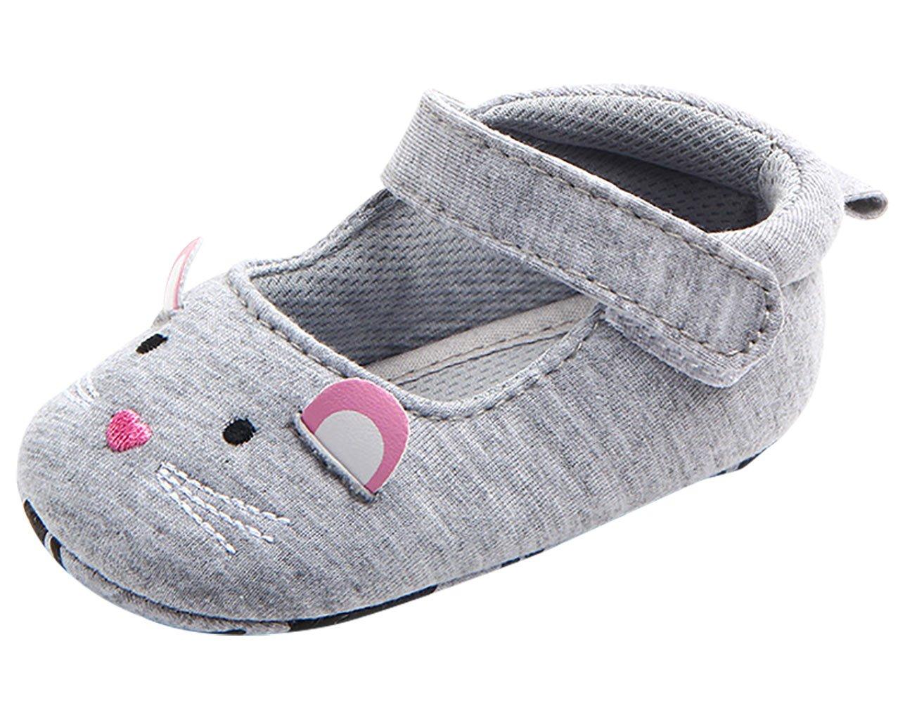 Tongyouyuan - Zapatos Antideslizantes para Bebés Niñas de Algodón Suave Transpirable Casual con Suela de Goma Zapatillas de Primeros Pasos Baby Shoes - 0-6 Meses - Rosa