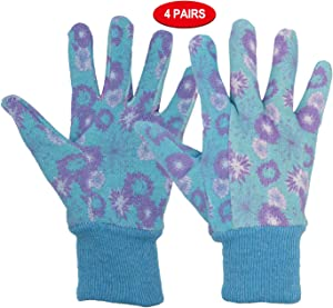 Women Gardening Gloves Cotton, 4 pairs Ladies Soft Jersey Garden Gloves with PVC Dots, Floral Print Yard Work Gloves