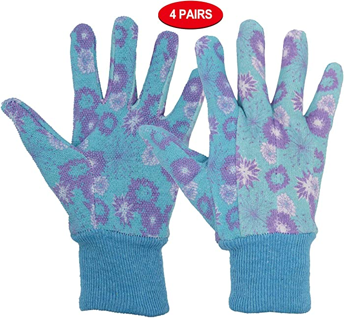 Women Gardening Gloves Cotton, 4 pairs Ladies Soft Jersey Garden Gloves with PVC Dots, Floral Print Yard Work Gloves
