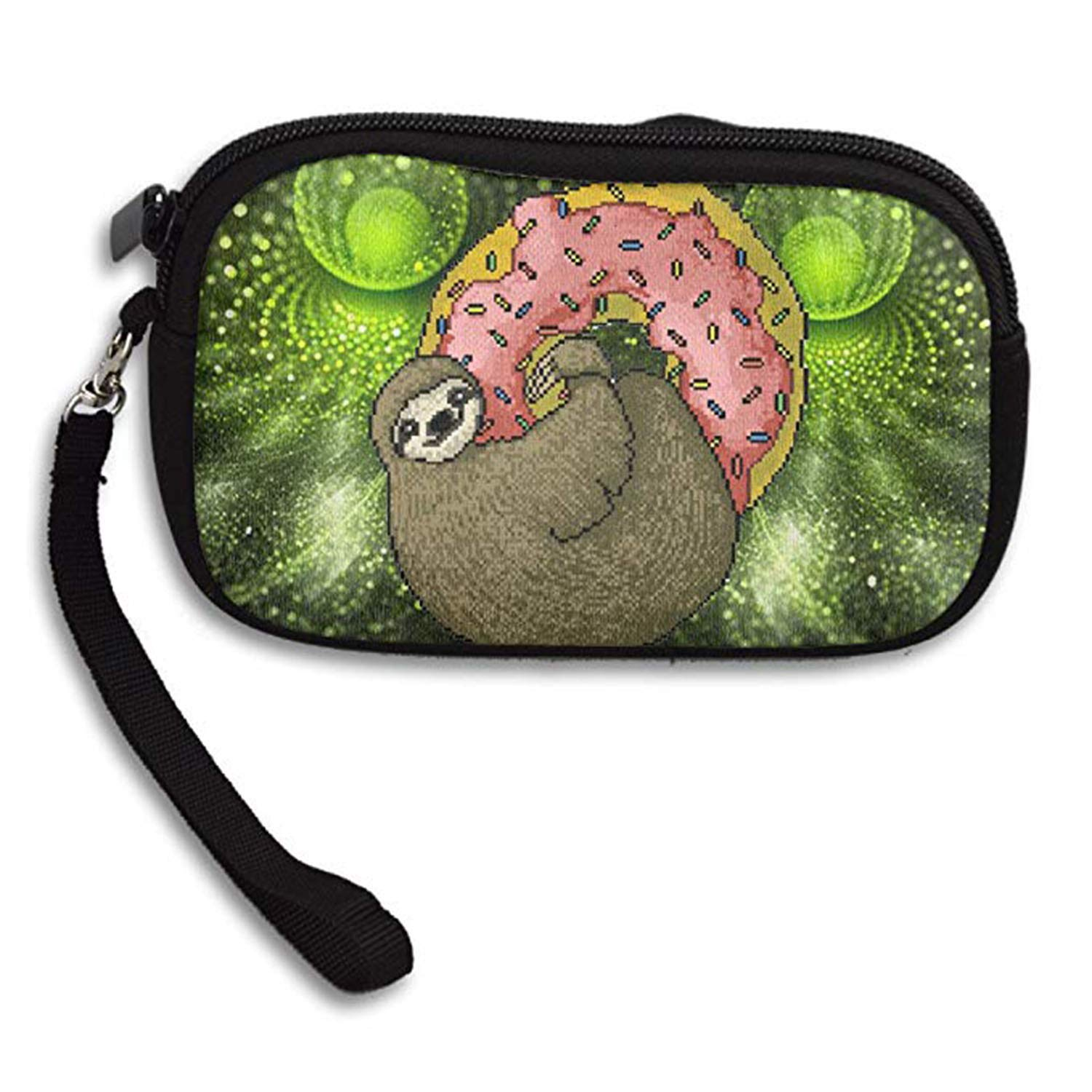 LHQ's Sloth And Donut Pixelated Zipper Change Purse Coin Wallet Card Holder With Key Ring Wristlet Portable Pouch Bag LHQOOO LHQCOIN888-36