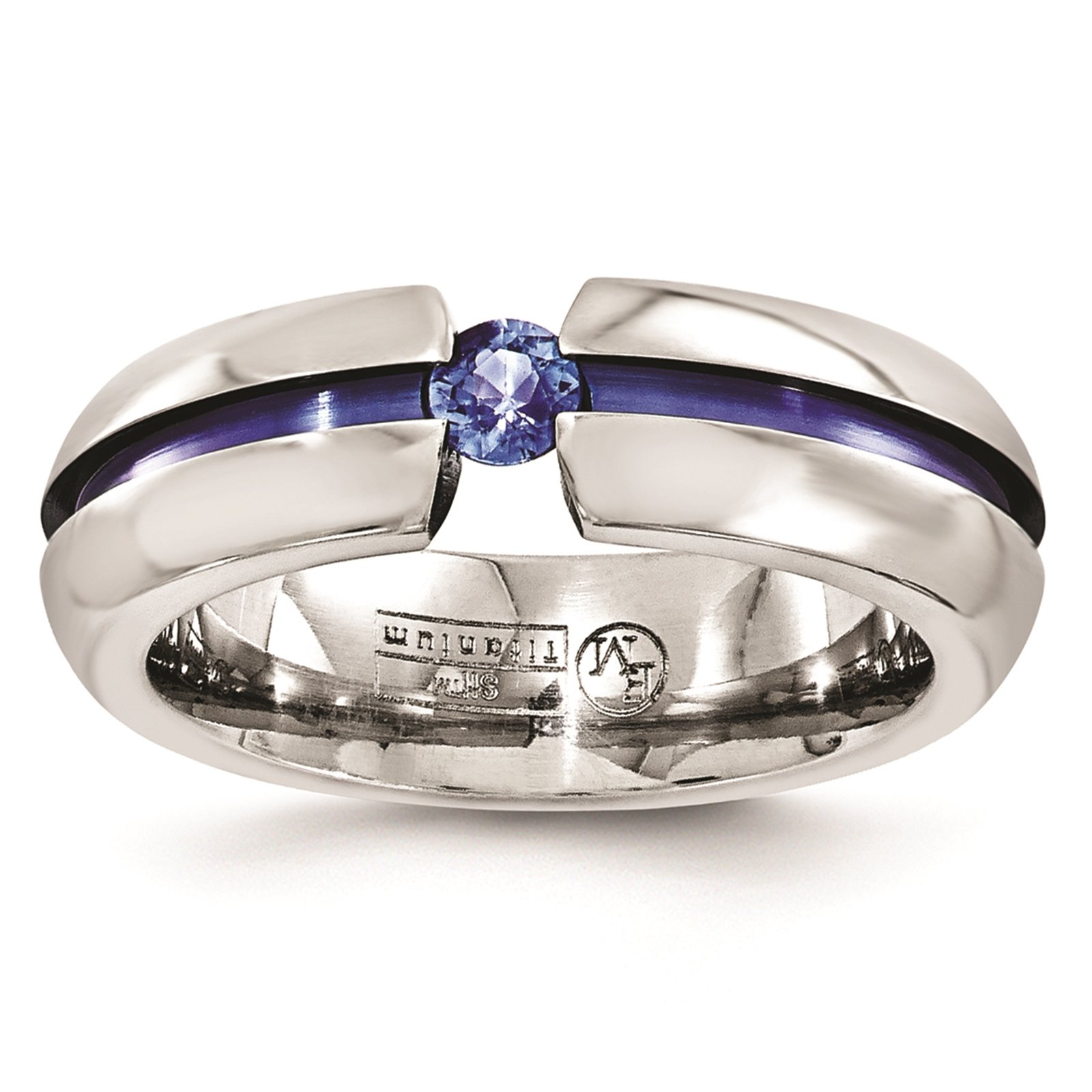 Titanium Blue Anodized w/Blue Sapphire Grooved 6mm Wedding Ring Band Size 6.5 by Edward Mirell