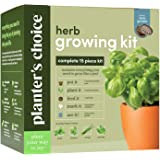 Planters' Choice Herb Growing Kit + Herb Grinder - Complete Kit to Easily Grow 4 Herbs from Seed (Basil, Cilantro, Chives & P