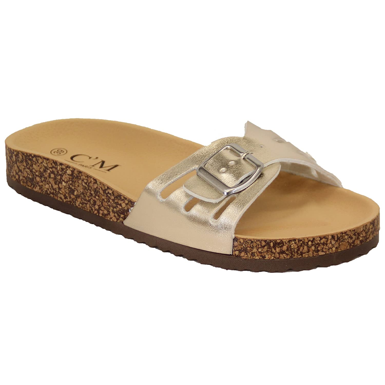 6d56d6c4c96 Ladies Slippers Slip On Flat Mule Sandals Womens Sliders Patent Cork ...