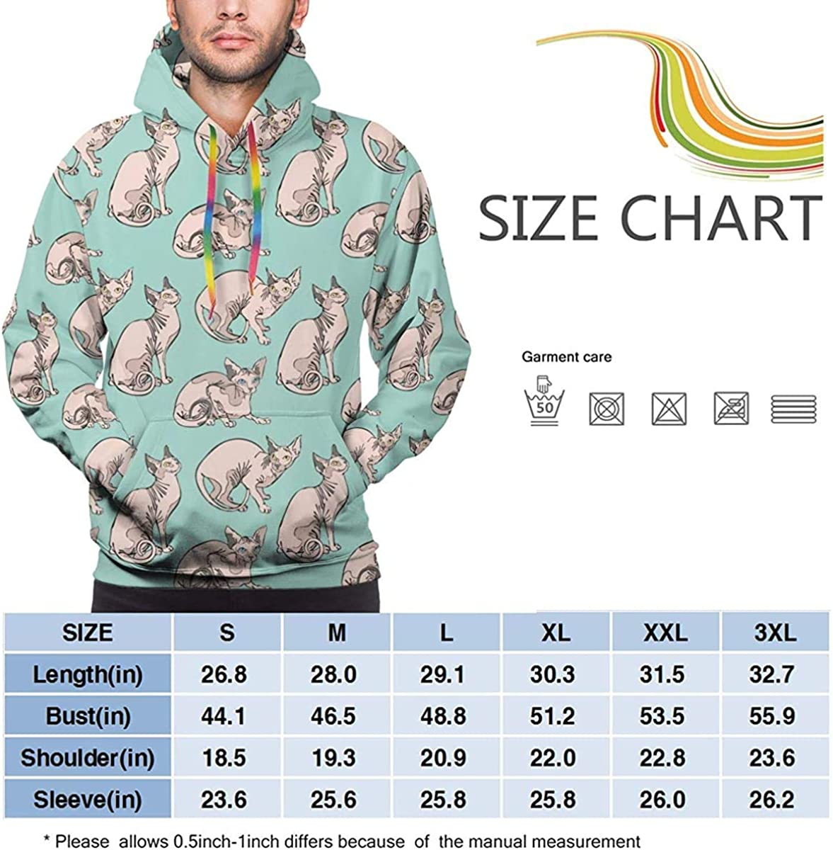 Mens Drawstring Hoodie Sweatshirts Fitted Sport Tops Hairless Naked Cats Sphynx Cats Pattern Mint Green M