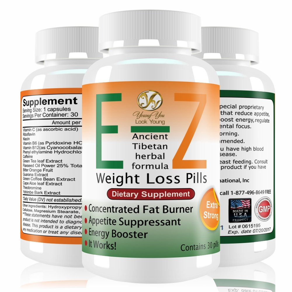 E-Z Weight Loss Pills Rapid Weight Loss Fat Burner and Appetite Suppressant Diet Pills