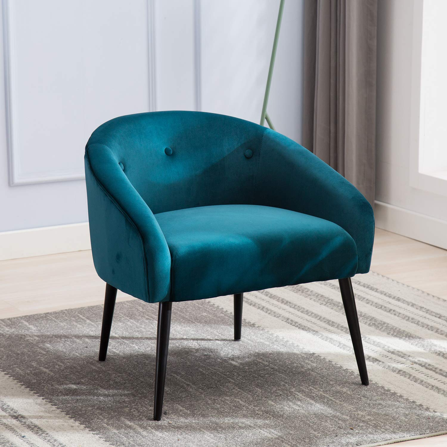 Upholstered Tufted Blue Velvet Accent Chair,JULYFOX Mid Century Modern Accent Arm Chair 330LB Heavy Duty 22 inch Extra Wide Seat 6 inch Thick Padded Club Side Tub Chair for Living Room Bedroom Office by JULYFOX
