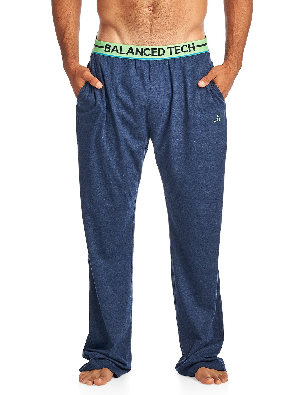 Balanced Tech Men's Solid Cotton Knit Pajama Lounge Pants - Navy Heather/Green - X-Large