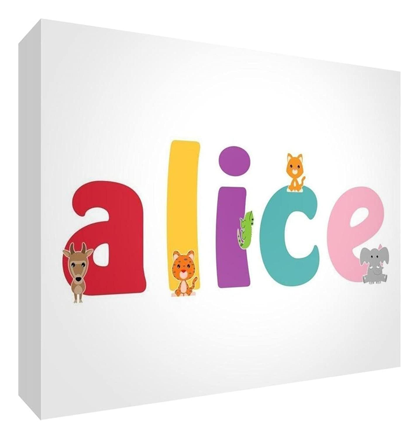 Feel Good Art Diamond Polished Keepsake//Token Cute Illustrations and Personalised with Girls Name 10.5 x 7.4 x 2 cm, Small, Alice