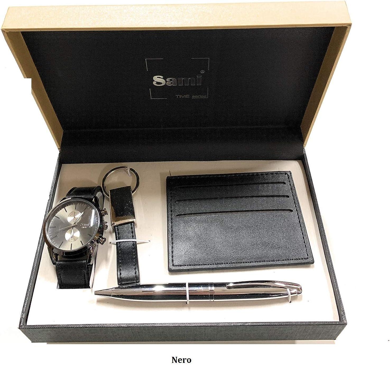 Sami RSM-43742 Time Series – Set di orologio da uomo, penna con punta Tactil, Portachiavi, Porta Carte di Credito Grigio