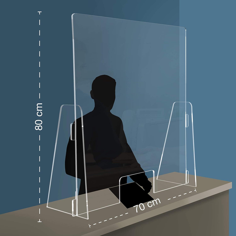 Parafiato parasputi da banco Parete divisoria dispositivo di sicurezza covid 19 in plexiglass trasparente con apertura passa soldi 70x80 centimetri OMAGGIO 2 adesivi calpestabili