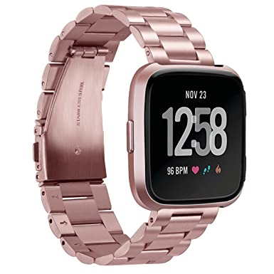 Aresh compatible with Fitbit Versa/Versa lite Watch Straps Bands,Metal  Solid Stainless Steel Watch Bands for Women Men for Fitbit Versa lite  Fitness
