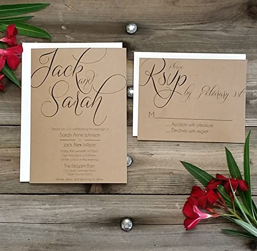 PRINTED Country Rustic Wedding Invitation U0026 Rsvp W/both Envelopes  U0026quot;GOLD PACKAGEu0026quot;