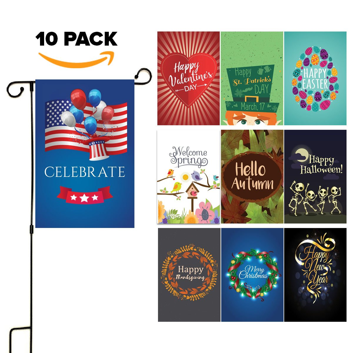 Seasonal Yard Garden Flag Set - Double Sided 12'' x 18'' Front Porch Seasonal Flags For House Yard - Top Themes, Christmas, Halloween, Thanksgiving & More - Outdoor Weatherproof & USA Designed - 10 Pack