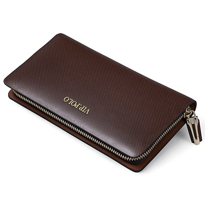 62bc4aa9cc1c5 William POLO Men s Genuine Leather Long Zipper Checkbook Wallet Clutch Bag  Zip Around Mens Coin Purse Credit Card Holder Money Clips POLO115 Coffe  ...