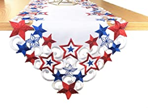 July 4TH Patriotic Decorations Table Runners, Embroidered Red White and Blue Thread Decorations, 4th July Holiday Kitchen Decor Table Runners, 13 by 68 Inches