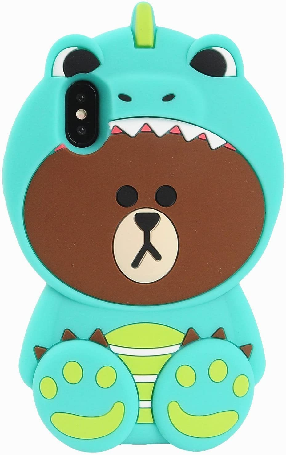 """Artbling Case for iPhone XR 6.1"""" Silicone 3D Cartoon Animal Cover, Kids Girls Cool Fun Lovely Cute Bear Cases,Kawaii Soft Gel Rubber Unique Character Fashion Protector for iPhone XR (Green Dinosaur)"""