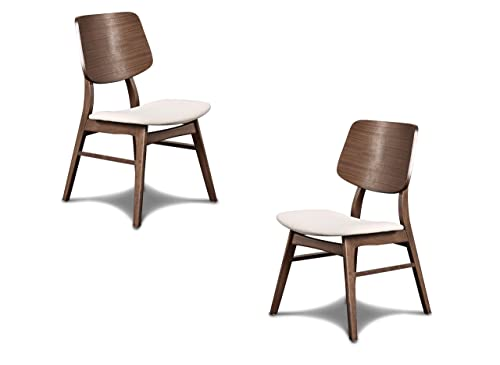 New Classic Furniture D1651-20 Mid-Century Modern Oscar Wooden Back Chair, Set of 2, Walnut