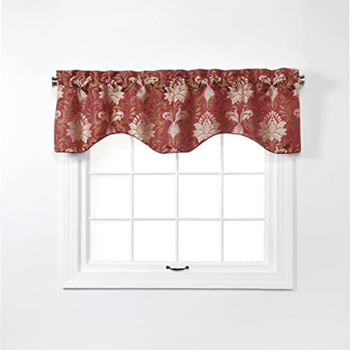 Renaissance Home Fashion Doris Lined Scalloped Valance with Cording, 55 x 17 , Burgundy