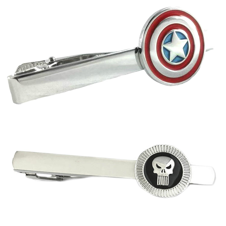 Marvel Comics - Captain America & The Punisher - Tiebar Tie Clasp Set of 2 Gift Set Wedding Superhero Logo Novelty Jewelry Series w/Gift Box