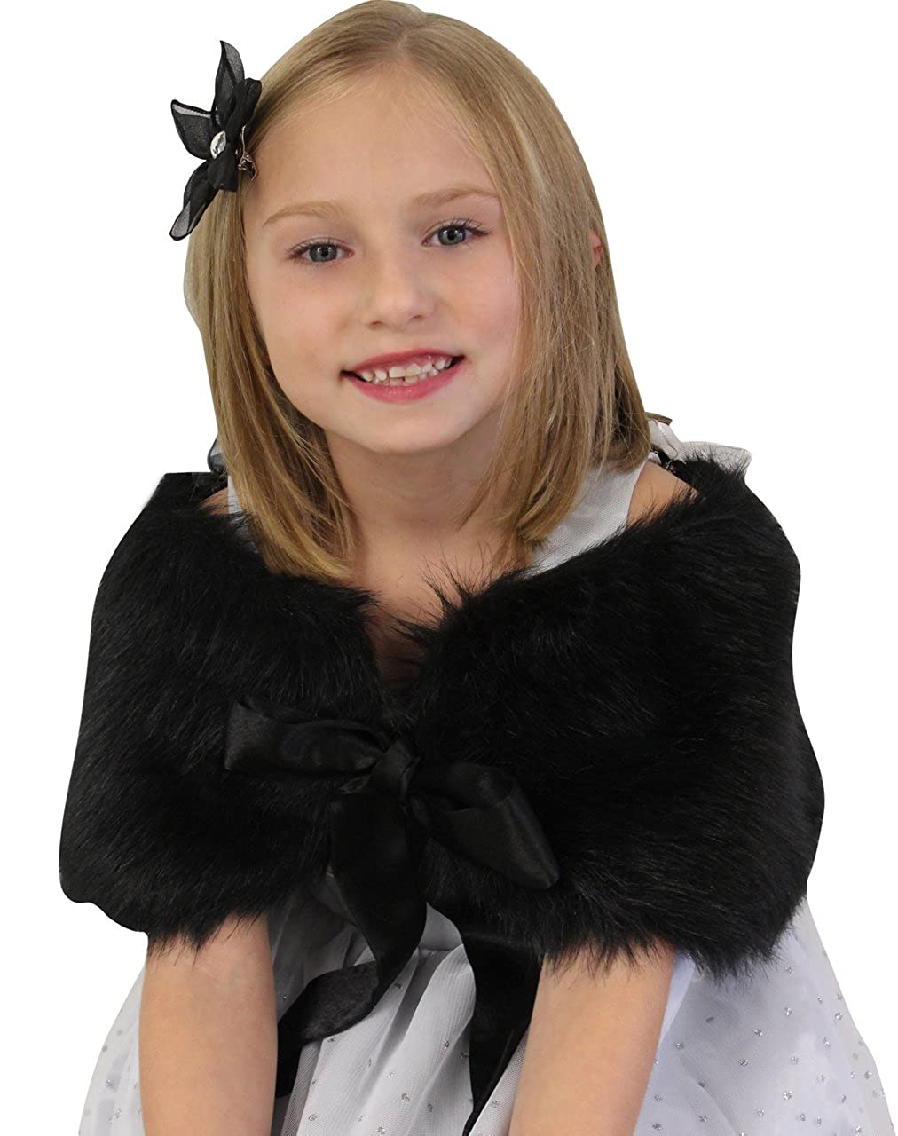 Girls faux fur shawl Black Size Large