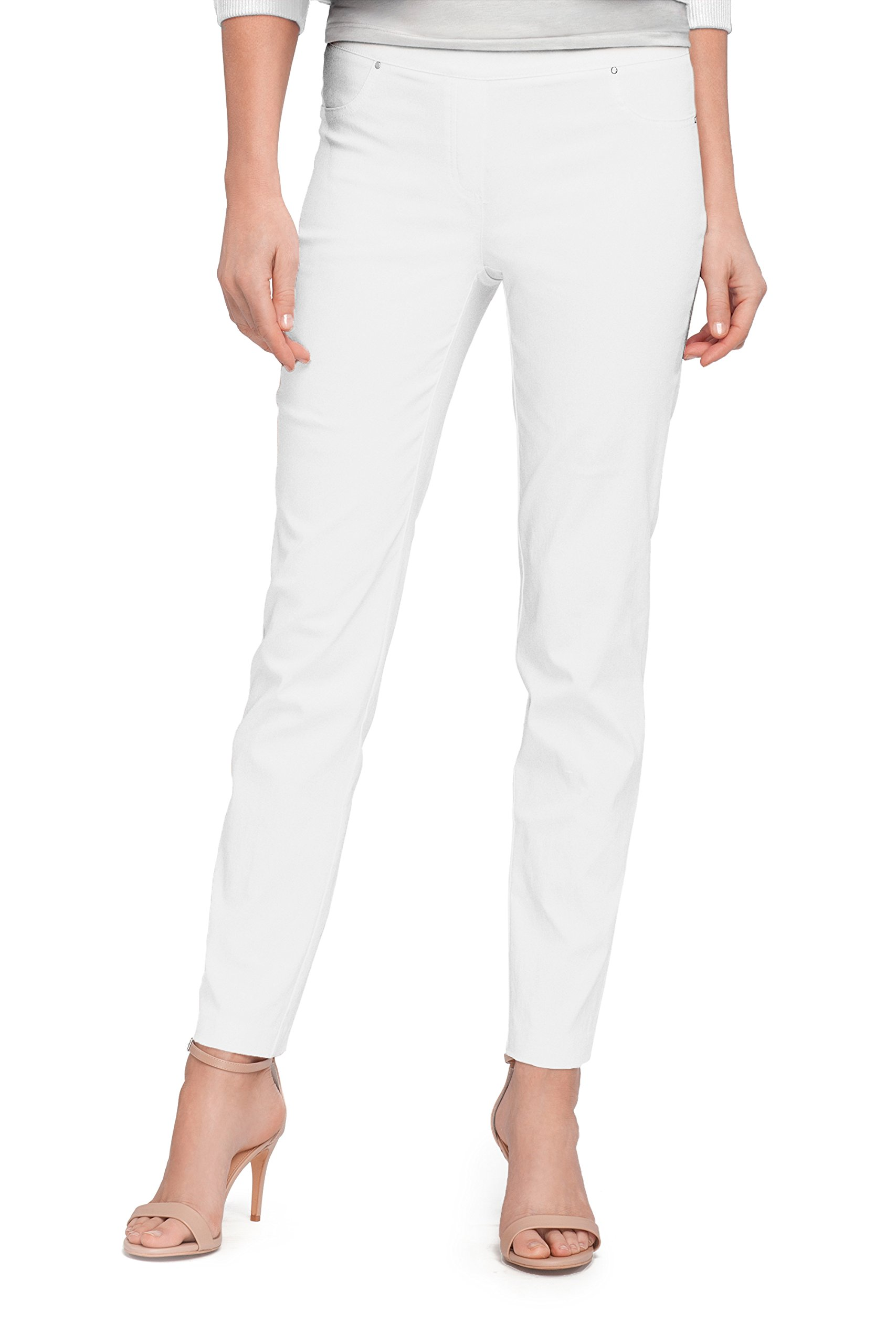89th & Madison Solid Millennium Ankle Pant (S, White)