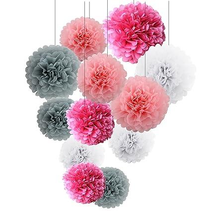 Amazon pink tissue paper pom poms decorations 12 pcs of 8 10 pink tissue paper pom poms decorations 12 pcs of 81012inch mightylinksfo
