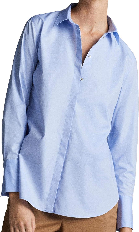 MASSIMO DUTTI 5143/627/406 - Camisa para Mujer, Color Liso Azul 38: Amazon.es: Ropa y accesorios