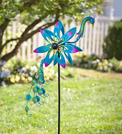 Exceptionnel Plow U0026 Hearth Metal Garden Wind Spinner   Colorful Peacock With Bobbling  Head And Tail