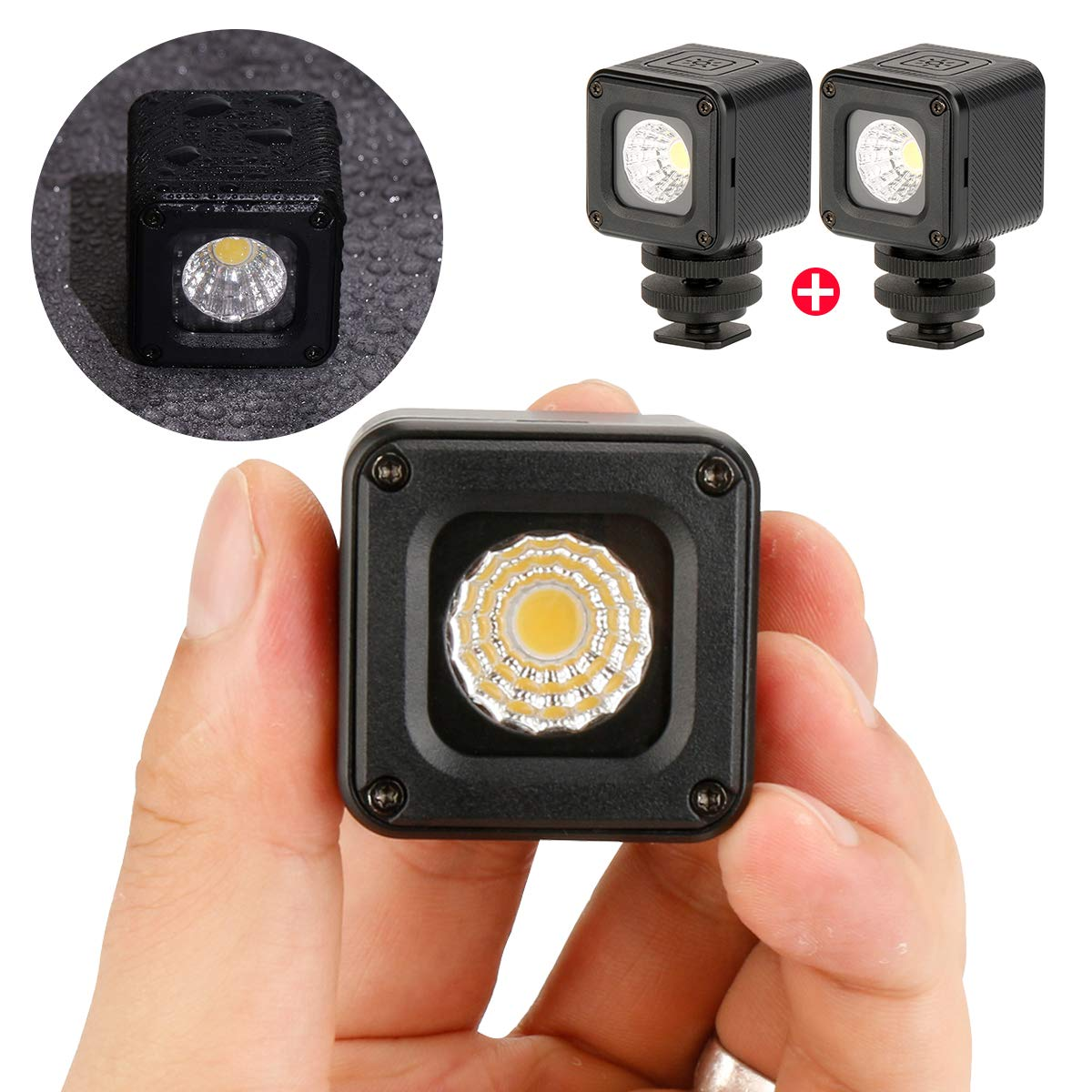 2 Pieces LED Video Light Mini Waterproof 10M Compact Pocket Size for Diving Adventure Portable Universal 1/4'' Cold Shoe Adapter Lighting