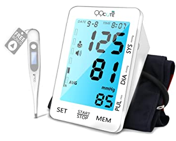 Automatic Blood Pressure Monitor, 5.5 inch Backlit LCD Touchscreen Display, Large Cuff Fits Standard