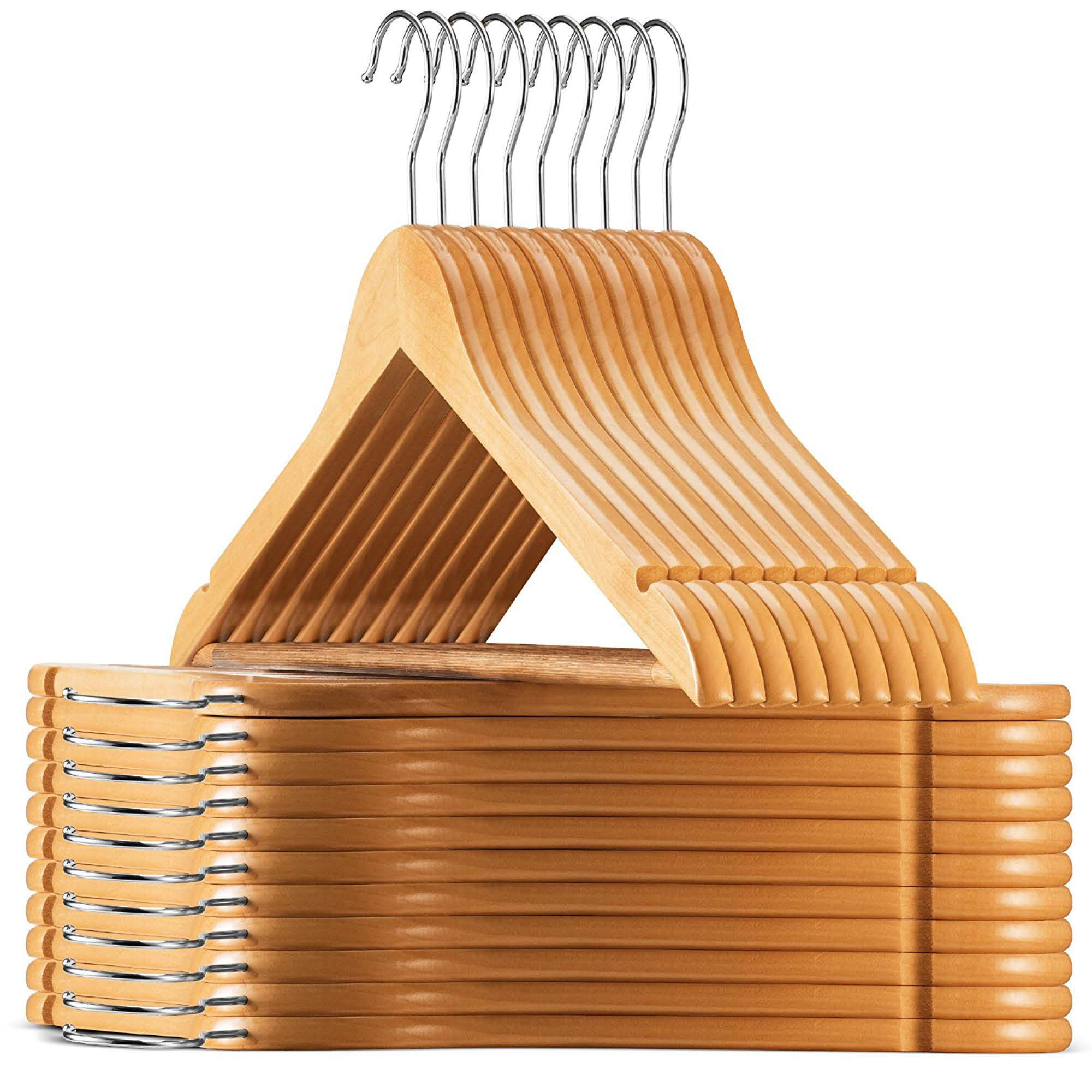 High-Grade Wooden Suit Hangers 30 Pack with Non Slip Pants Bar - Smooth Finish Solid Wood Coat Hanger with 360° Swivel Hook and Precisely Cut Notches for Camisole, Jacket, Pant, Dress Clothes Hangers