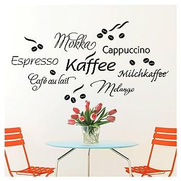 Wandaro Wandtattoo Kaffee Bar I schwarz 80 x 41 cm I Cappuccino Espresso  Milchkaffee Küche Esszimmer selbstklebend Aufkleber Wandaufkleber  Wandsticker ...
